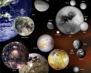 Die Monde in unserem Sonnensystem (Credit: NASA/JPL)