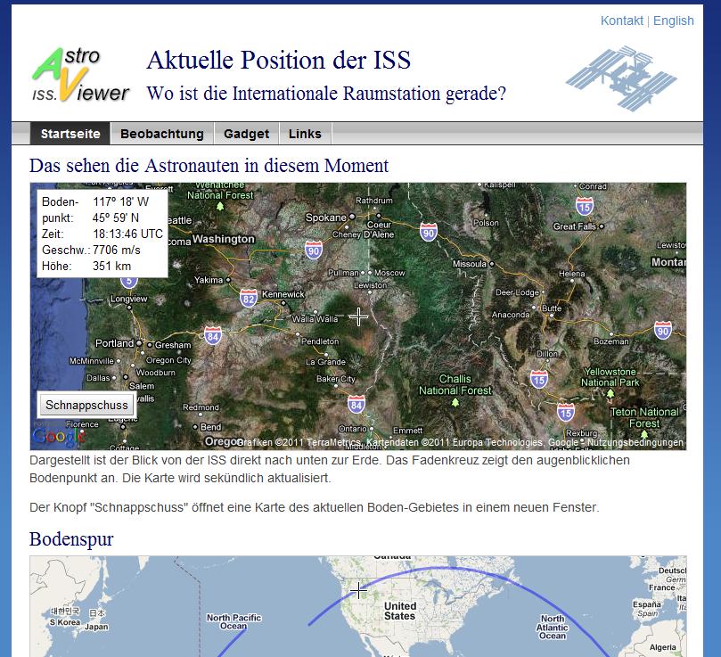 Links: ISS aktuell, Entdecke den Blauen Planeten - Clear