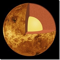 (The inner structure of Venus – the crust (outer layer), the mantle (middle layer) and the core (yellow inner layer). Made from Venus_globe.jpg by User:Vzb83. {{GFDL}})