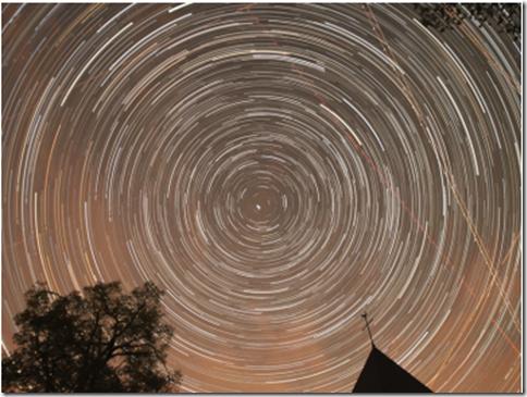 Star trails above the church at Wollseifen, Eifel National Park - Nationalpark Eifel (Sternenpark)