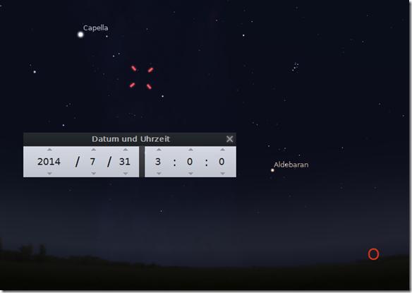Komet C/2014 E2 Jacques am Sternenhimmel