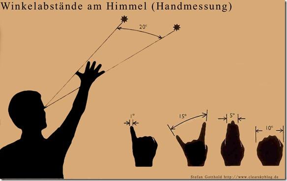 Winkelabstand am Himmel mit der Hand