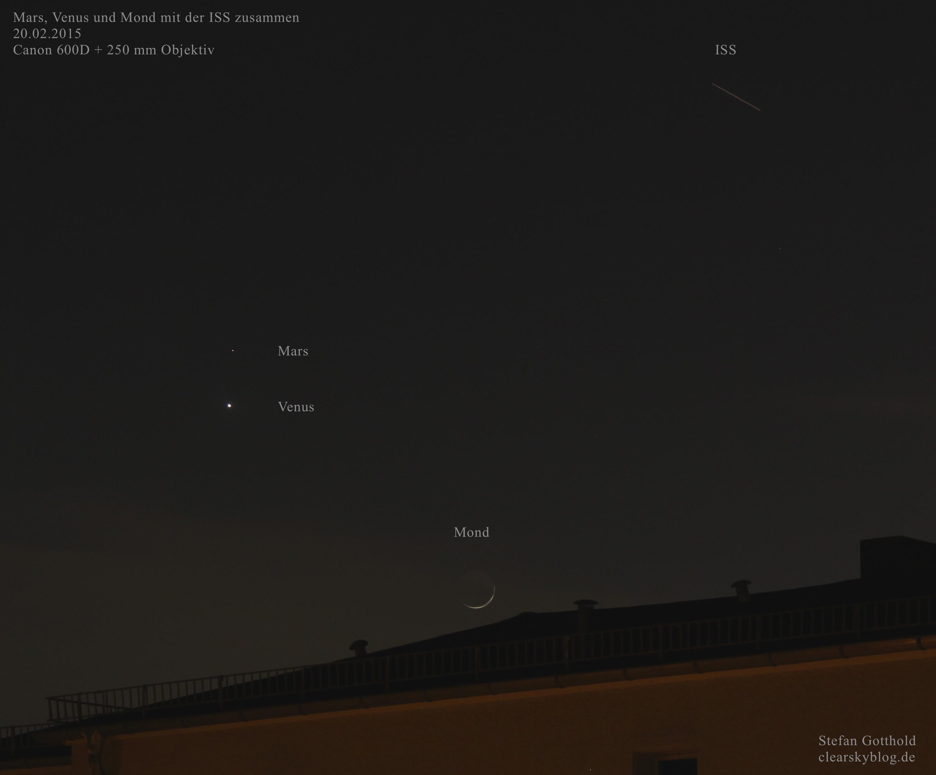 Mars Venus Mond Und Iss An Einem Abend Und Auf Einem Bild Clear