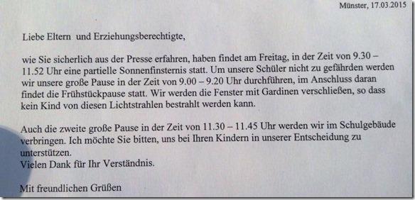 Brief einer Schule
