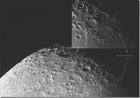 Hesiodus-Strahl auf dem Mond 2016