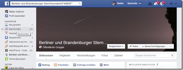 Berliner und Brandenburger Sternfreunde bei Facebook