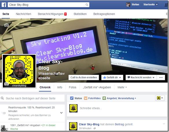 Facebook Seite des Clear Sky-Blog