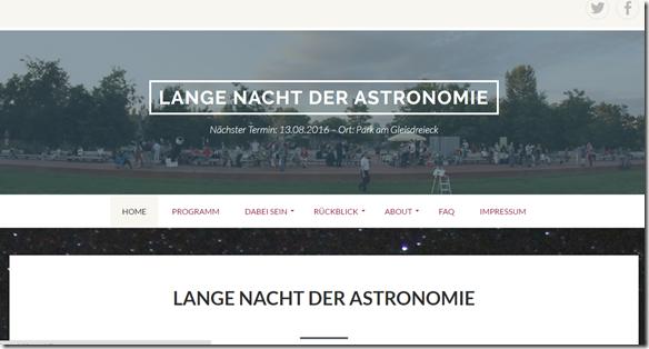 Webseite zur Langen Nacht der Astronomie