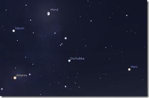 Planeten Mars und Saturn beim Mond