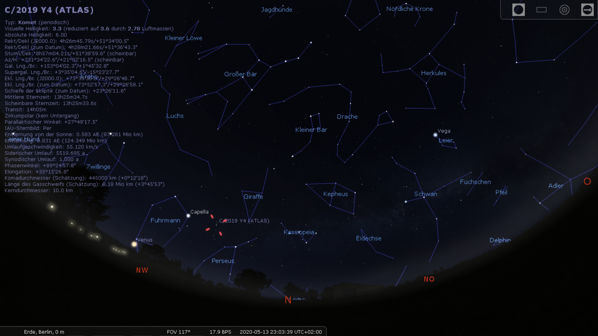Position des Kometen ATLAS Mitte Mai